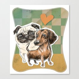 A Tail of Two Dogs Canvas Print