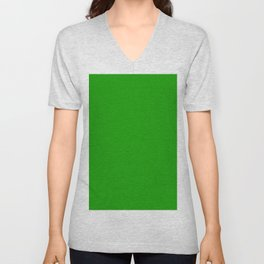 Green Color Unisex V-Neck