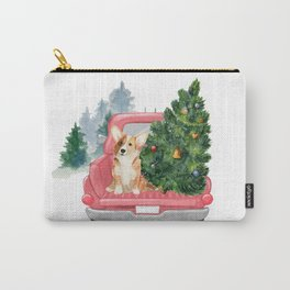 Driving Home For Christmas - Corgi On Red Xmas Car  Carry-All Pouch