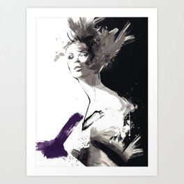 Fashion Painting, Fashion IIlustration, Vogue Portrait, Fashion Beauty, Black and White colours, #10 Art Print