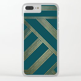 Art Deco Blurred Lines In Teal Clear iPhone Case