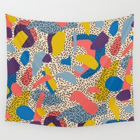 eames Wall Tapestries featuring Memphis Inspired Pattern 2 by Season of Victory