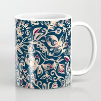 bedding Mugs featuring Navy Garden - floral doodle pattern in cream, dark red & blue by micklyn