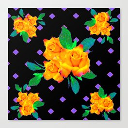 Black & Violet Golden Roses Pattern Canvas Print