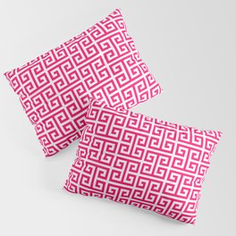 Hot Pink and White Greek Key Pattern Pillow Sham