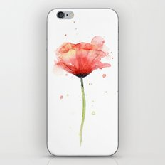 Red Poppy Watercolor Flower Floral iPhone & iPod Skin