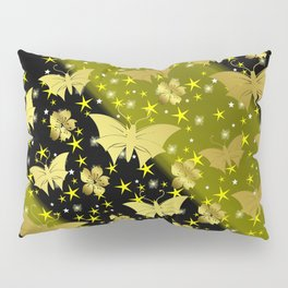 golden butterflies, small asian flowers on black background Pillow Sham