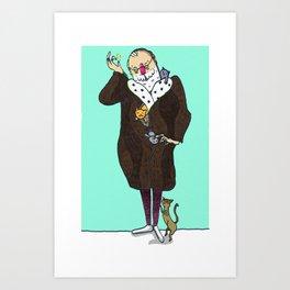 Edward Gorey Enjoys Cats Art Print