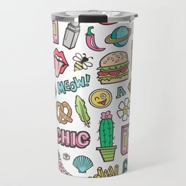 90's Vintage Patches Stickers Doodle Travel Mug