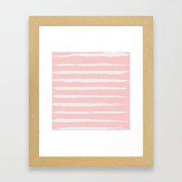 Irregular Hand Painted Stripes Pink Framed Art Print
