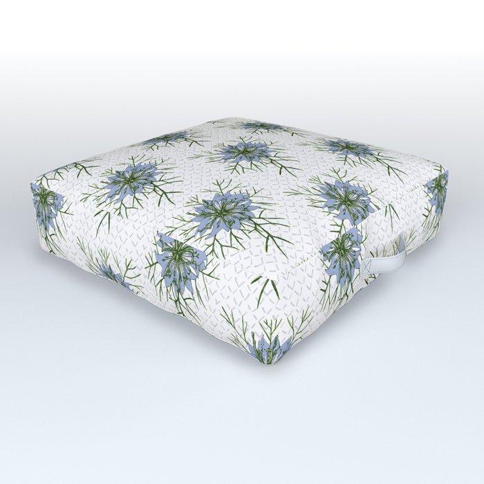 Love in a Mist | The Romantic | Nigella damascena flower repeat pattern light blue Outdoor Floor Cushion