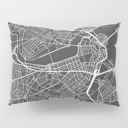 Boston Map, Massachusetts USA - Charcoal Portrait Pillow Sham