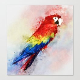 Watercolour scarlet macaw parrot bird Canvas Print