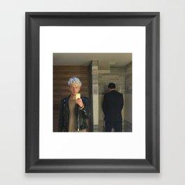 untitled (selfie in men's room) Framed Art Print