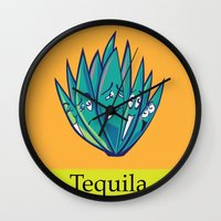 tequila Wall Clocks featuring Tequila by Heather Martinez