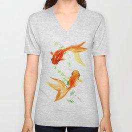 Goldfish, Feng Shui Asian Watercolor Unisex V-Neck