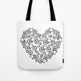 Black and White - Love Bikes Tote Bag