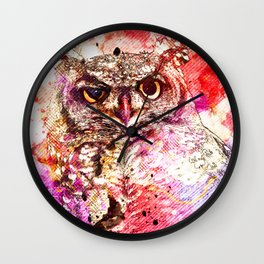 Watercolor Owl, Vintage Owl, Mixed Media Owl, Animal Owl, Bird Owl, Best Owl,Owl Print, Owl Painting Wall Clock