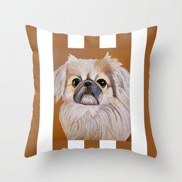 Peke Moo Throw Pillow