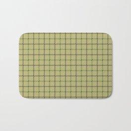 Fern Green & Sludge Grey Tattersall on Wheat Beige Background Bath Mat