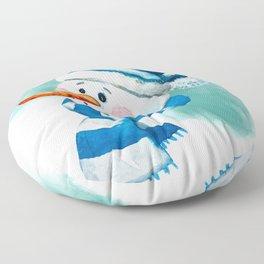 Blue Snowman 02 Floor Pillow