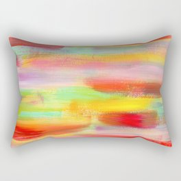 Be Positive - colorful stripes pattern abstract painting Rectangular Pillow