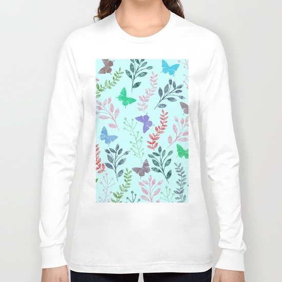 Watercolor flowers & butterflies II Long Sleeve T-shirt