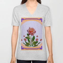 PEACHY PINK ROSE ART NOUVEAU ART Unisex V-Neck