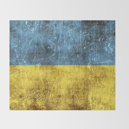 Vintage Aged and Scratched Ukrainian Flag Throw Blanket