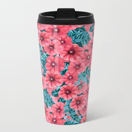 Red watercolor petunia flower pattern Metal Travel Mug