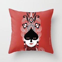 Lady Spades Throw Pillow