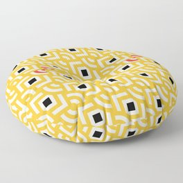 Round Pegs Square Pegs Yellow Floor Pillow