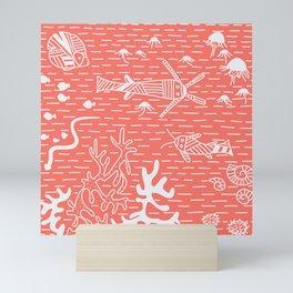 Living Coral Sea Life Stripes No. 2 Mini Art Print