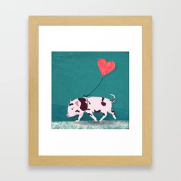 Baby Pig With Heart Balloon Framed Art Print