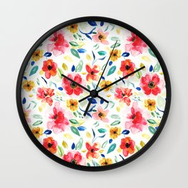 Bright Playful Watercolour Floral Pattern Wall Clock