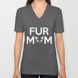 Fur Mom Adorable Crazy Cat Lady Kitty Mama Unisex V-Neck
