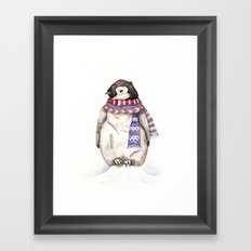 Baby Penguin in Red and Blue Scarf. Winter Season Framed Art Print