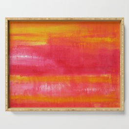 'Summer Day'  Orange Red Yellow Abstract Art Serving Tray
