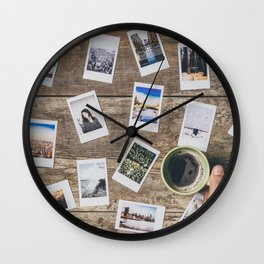 Photo prints on the table Wall Clock