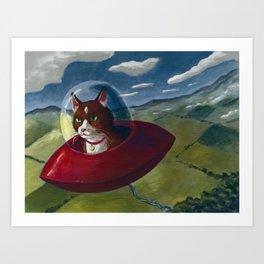 Saucer Cat Art Print