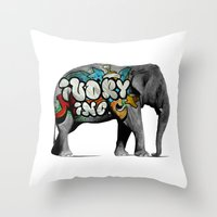 monster inc Throw Pillows featuring Ivory Inc. by pat langton