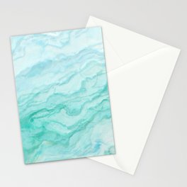 Ocean Blue Marble Texture Stationery Cards