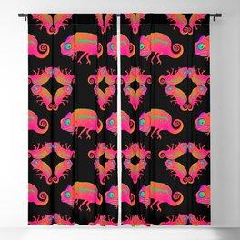 Chameleon. Neon Chameleons forming hypnotic patterns on a black background. Blackout Curtain