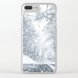 Winter forest snow road. Forest road winter snow view. Clear iPhone Case