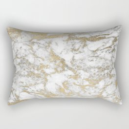 Modern chic faux gold white elegant marble Rectangular Pillow