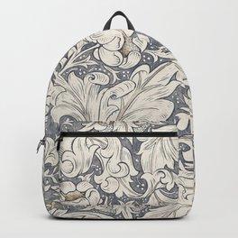William Morris Bachelors Button Black Ink Vintage Pattern Backpack