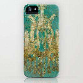 Gold and Peacock Chandelier iPhone Case