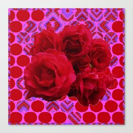 CLUSTER OF RED ROSES ON  RED-VIOLET ABSTRACT Canvas Print