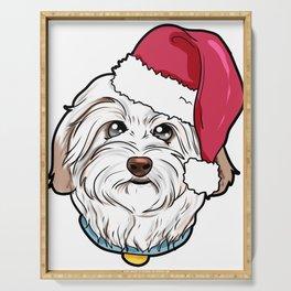 Havanese Dog Christmas Hat Present Serving Tray
