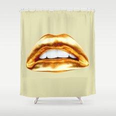 Golden lips Shower Curtain